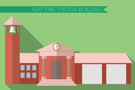 apartment bell: Flat design modern illustration of fire station building icon, with long shadow on color background.