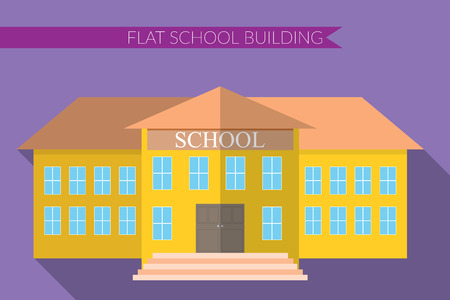 apartment bell: Flat design modern illustration of school building icon set, with long shadow on color background.