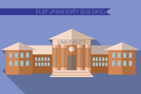 색상 배경에 긴 그림자와 대학 건물 아이콘 플랫 디자인에 현대적인 그림. 일러스트