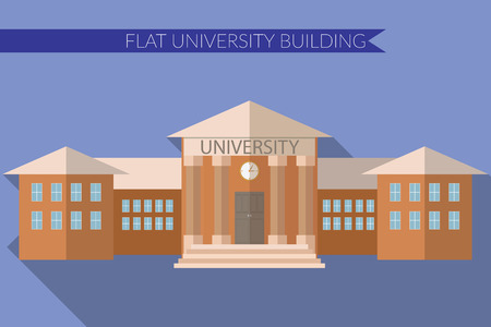 Flat design modern illustration of University building icon, with long shadow on color background.