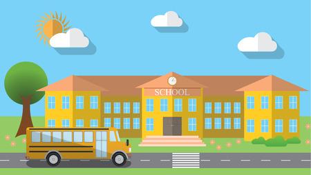 school illustration: Flat design illustration of school building and parked school bus in flat design style, illustration.