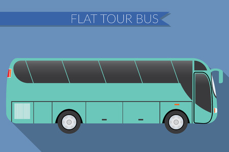 long distance: Flat design illustration city Transportation, Bus, intercity, long distance tourist bus, side view Illustration