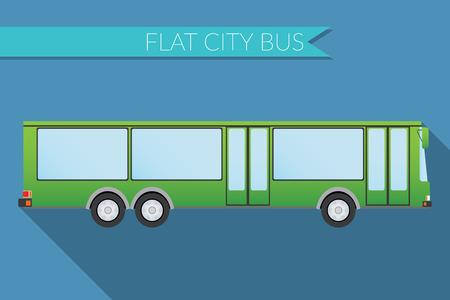 Flat design illustration city Transportation, city bus, side view Illustration
