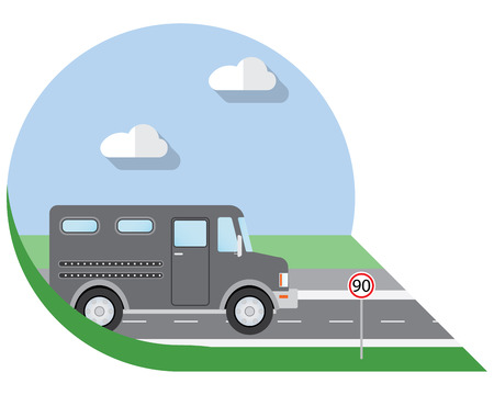 view icon: Flat design illustration city Transportation, bank armored Truck, side view icon Illustration