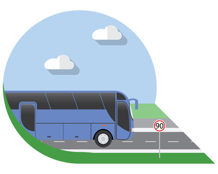 long distance: Flat design illustration city Transportation, Bus, intercity, long distance tourist bus, side view icon