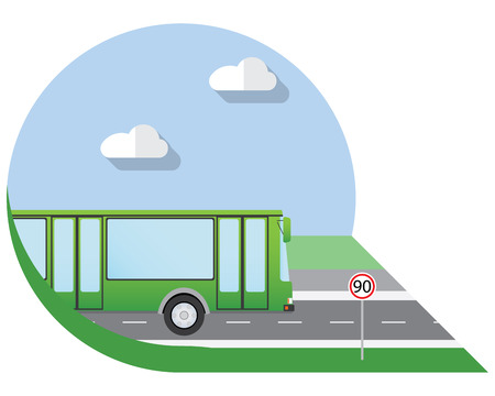 view icon: Flat design illustration city Transportation, city bus, side view icon