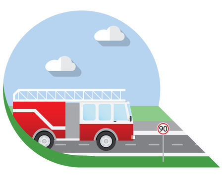 view icon: Flat design illustration city Transportation, fire truck, side view icon