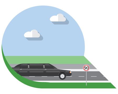 view icon: Flat design illustration city Transportation, limousine, side view icon