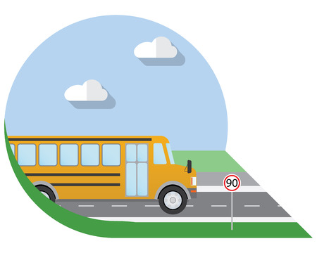 view icon: Flat design illustration city Transportation, school bus, side view icon Illustration