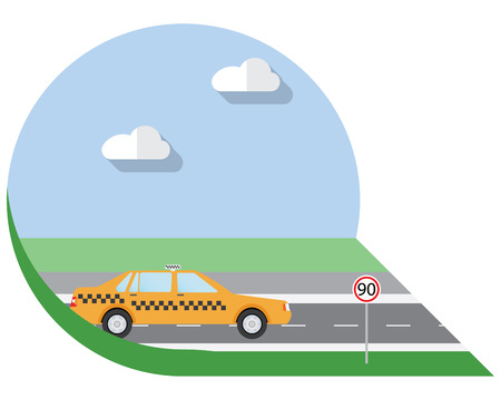 view icon: Flat design illustration city Transportation, city taxi, side view icon