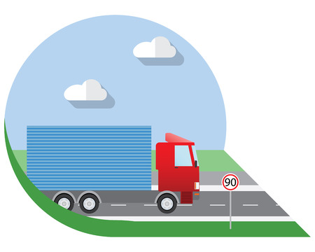 view icon: Flat design illustration city Transportation, small truck for transportation cargo, side view icon