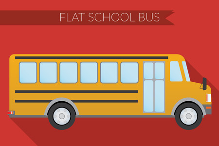 side view: Flat design illustration city Transportation, school bus, side view