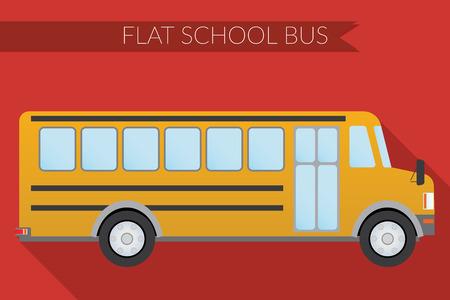 back view student: Flat design illustration city Transportation, school bus, side view