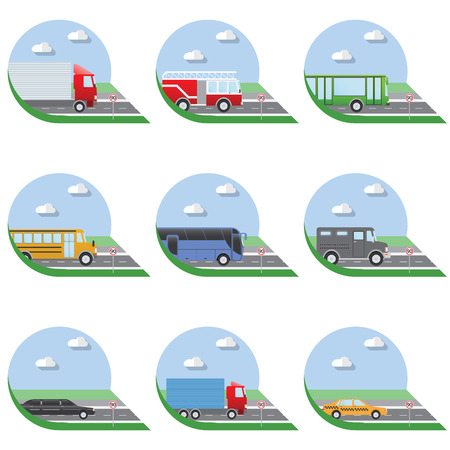 limo: Flat design illustration city Transportation Flat Icons. Trucks, Bus, taxi, limo, fire truck, and school bus.