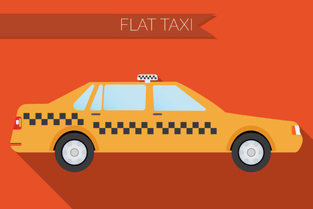yellow taxi: Flat design illustration city Transportation, city taxi, side view
