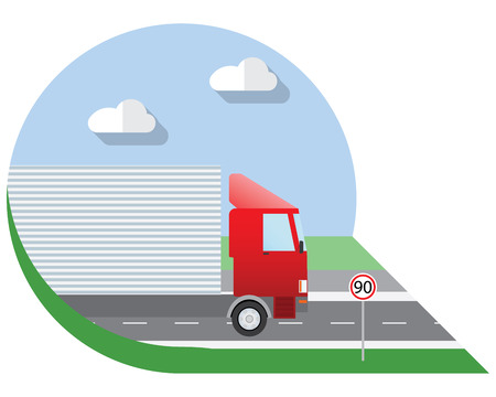 view icon: Flat design illustration city Transportation, truck for transportation cargo, side view icon