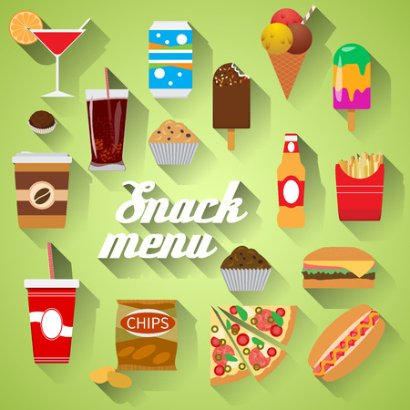 Snack Menu Flat design modern vector illustration of food, drink, coffee, hamburger, pizza, beer, cocktail, fastfood, cola, ice cream, potato chips, candy icons with long shadow.