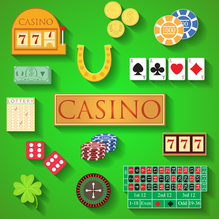 bandit: Casino elements Flat design modern vector illustration of casino items, gambling chips, poker cards, roulette, money, dice, ace, coin, cash, horseshoe, bandit, clover, lottery icons with long shadow.
