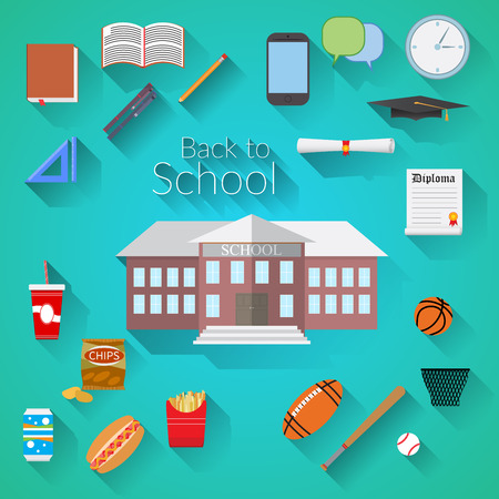 pensil: Back to School Flat design modern vector illustration, school building, pen, pensil, food, sport items, diploma and graduation cap icons with long shadow