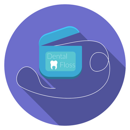 Flat design modern vector illustration of dental floss icon with long shadow, isolated Illustration