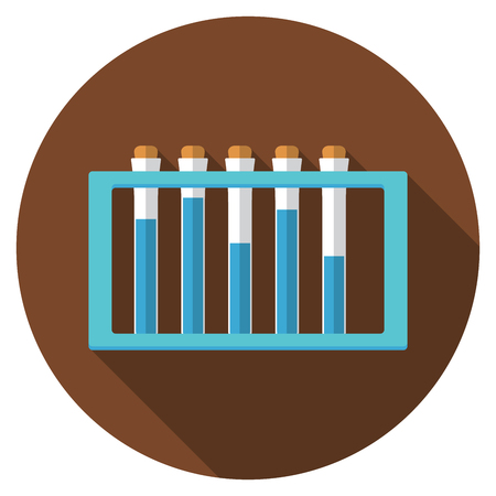samples: Flat design modern vector illustration of laboratory samples icon with long shadow, isolated