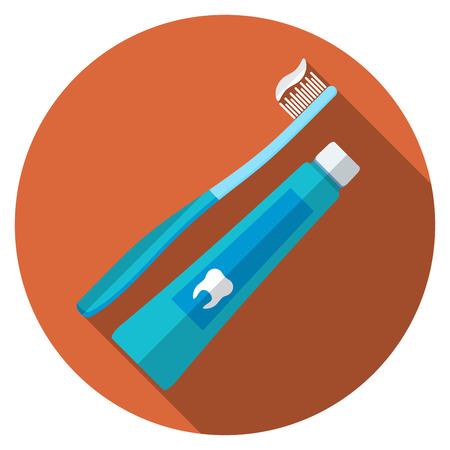 healthy teeth: Diseño plano moderna ilustración vectorial de cepillo de dientes y pasta de icono con larga sombra, aislado Vectores