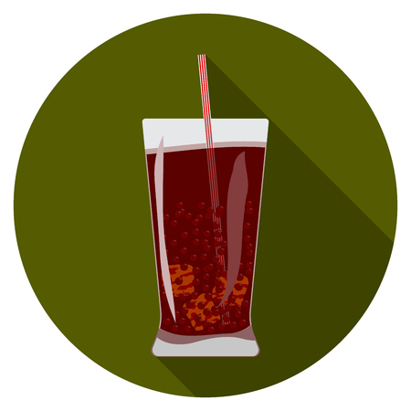 glass cup: Flat design modern vector illustration of cold drink icon with long shadow, isolated. Illustration