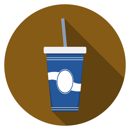 softdrink: Flat design modern vector illustration of drink icon with long shadow, isolated.