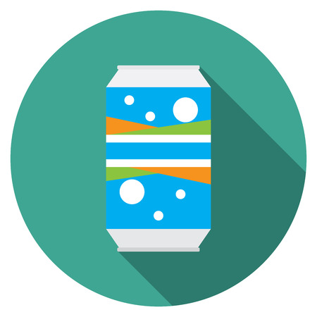 soda can: Flat design modern vector illustration of soda can icon with long shadow, isolated.