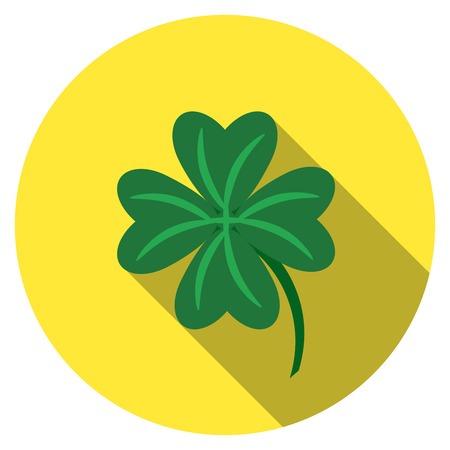 lucky clover: Flat design  lucky clover icon with long shadow, isolated Illustration
