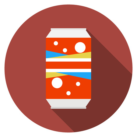 soda can: Flat design modern  illustration of soda can icon with long shadow, isolated.
