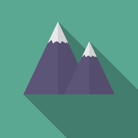 caped: Flat design modern  illustration of snow caped mountain icon, with long shadow.