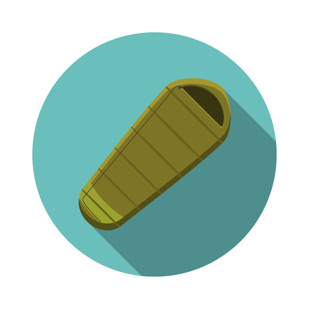 Flat design modern  illustration of sleeping bag icon, camping and hiking equipment with long shadow.