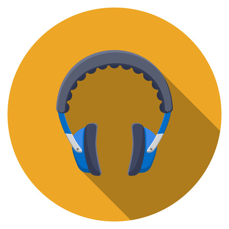 Flat design  headphones icon with long shadow, isolated.