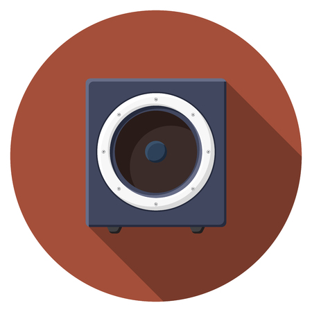 sound speaker: Flat design  Sound speaker icon with long shadow, isolated.