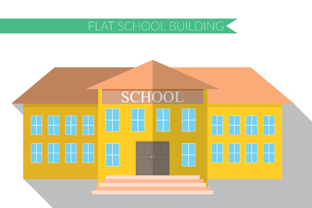 Flat design modern  illustration of school building icon set, with long shadow.