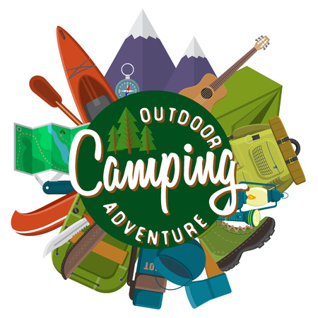 summer nature: Flat design modern vector illustration of camping and hiking equipment set. Travel and vacation items, car rubber boat and shoes, tent, knife and axe, backpack and hiking shoes, campfire and guitar.