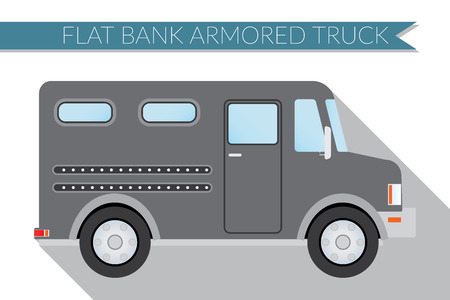armored: Flat design  illustration city Transportation, bank armored Truck, side view .