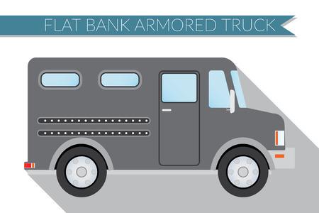 Flat design  illustration city Transportation, bank armored Truck, side view .
