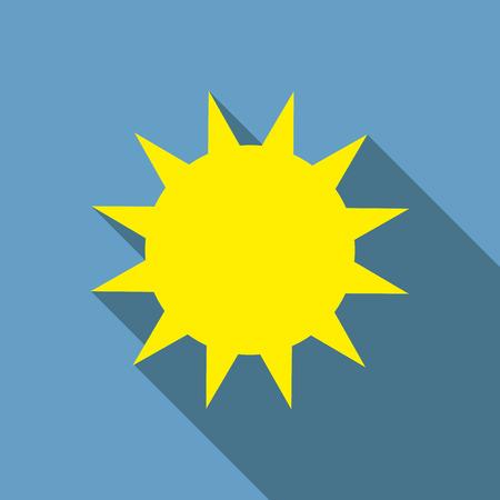 Flat design  Sun icon with long shadow. Illustration