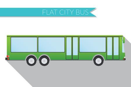 city view: Flat design  illustration city Transportation, city bus, side view .