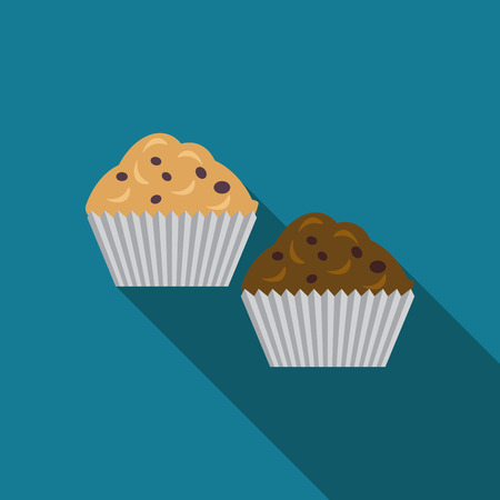 muffins: Flat design muffins icon with long shadow