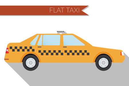 city view: Flat design  illustration city Transportation, city taxi, side view .