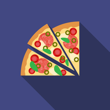 Flat design  pizza icon with long shadow