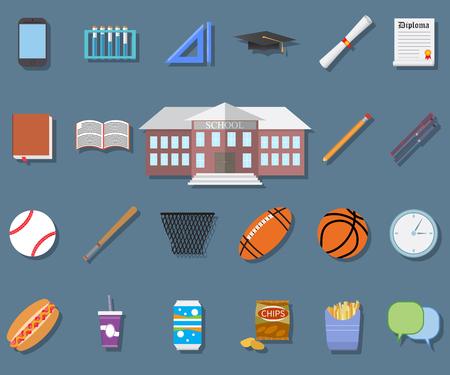 pensil: Back to School Flat design modern illustration, school building, pen, pensil, food, sport items, diploma and graduation cap icons. Illustration