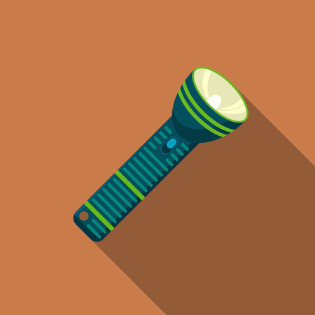 Flat design modern  illustration of flashlight icon, camping and hiking equipment with long shadow. Illustration