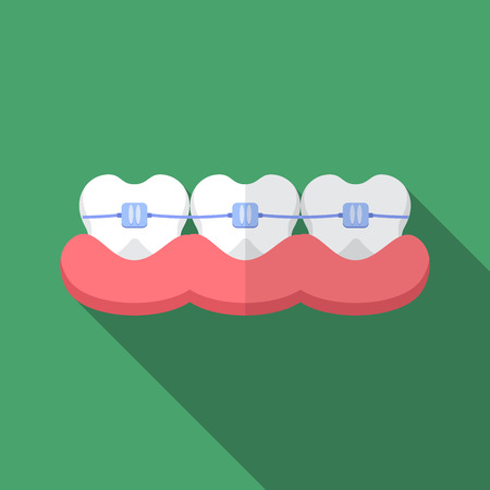 Flat design modern  illustration of dental bracers icon with long shadow. Illustration