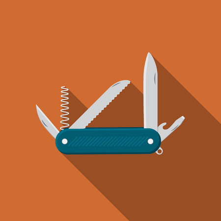 Flat design modern  illustration of multifunctional pocket knife icon, camping and hiking equipment with long shadow. Illustration