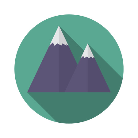 Flat design modern  illustration of snow caped mountain icon, with long shadow.