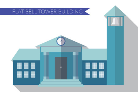 bell tower: Flat design modern  illustration of building with bell tower icon, with long shadow.